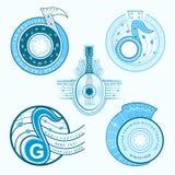 De blauwe etiketten van de gitaarmuziek Royalty-vrije Stock Foto