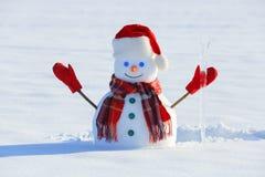 De blauwe eyed glimlachende sneeuwman in rode hoed, handschoenen en plaidsjaal houdt de ijskegel in hand Blije koude de winteroch stock afbeelding