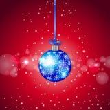 De blauwe Fonkelende Bal van Kerstmis Stock Afbeelding