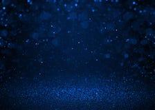 De blauwe fonkeling schittert abstracte achtergrond Stock Afbeelding
