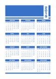 De blauwe Franse kalender van 2019 stock illustratie