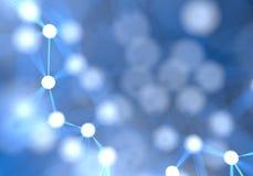 De blauwe futuristische abstracte achtergrond van netwerkknopen Technologie Stock Afbeelding