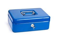 De blauwe geïsoleerded doos van het metaalcontante geld Stock Fotografie