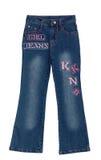 De blauwe geïsoleerdet jeans van het kinderenmeisje stock afbeelding