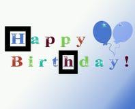 De blauwe Gekleurde Gelukkige Kaart van de Groet van de Verjaardag Stock Afbeelding