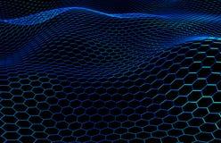 De blauwe Gekleurde Oppervlakte met Uitsteeksels, 3D Honingraatpatroon, geeft terug royalty-vrije illustratie