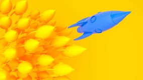 De blauwe gele raket van het raketlood, opstarten, illustratieconcept van leider op een markt Royalty-vrije Stock Fotografie