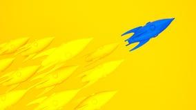 De blauwe gele raket van het raketlood, opstarten, illustratieconcept van leider op een markt Stock Afbeeldingen