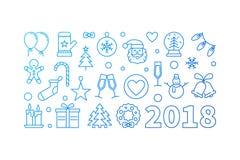 De blauwe Gelukkige illustratie van de Nieuwjaar 2018 vectorlijn of banner Royalty-vrije Stock Afbeeldingen