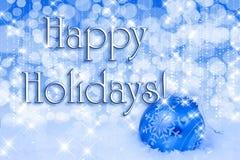 De blauwe Gelukkige Vakantie van het Ornament van Kerstmis Stock Afbeelding