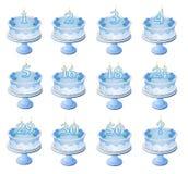 De blauwe Genummerde Cakes van de Verjaardag Royalty-vrije Stock Afbeelding