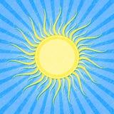 De Blauwe Gestreepte Kaart van Grunge met Zon vector illustratie