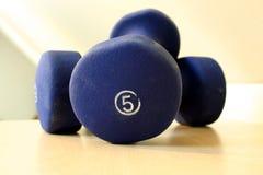 De blauwe Gewichten van Vijf Ponden Royalty-vrije Stock Foto's