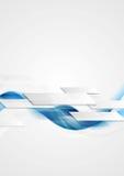 De blauwe glanzende hi-tech achtergrond van motiegolven Stock Afbeelding