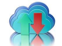 De blauwe glanzende wolk en uploadt downloadpijlen Stock Afbeelding