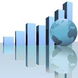 De blauwe Globale Grafieken van de Groei van de Winst met de Bol van de Wereld Royalty-vrije Stock Foto