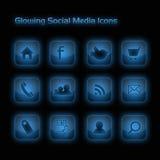 De blauwe Gloeiende Sociale Pictogrammen van Media Stock Afbeeldingen