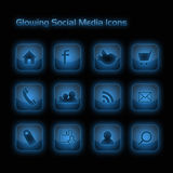 De blauwe Gloeiende Sociale Pictogrammen van Media Stock Foto
