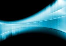 De blauwe golvende achtergrond van technologie met binaire systeemcode Stock Foto
