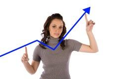 De blauwe grafiek van de vrouw Royalty-vrije Stock Fotografie