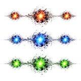 De blauwe, groene en rode explosies van de technostijl  Stock Afbeelding