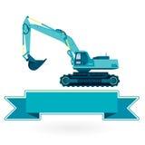 De blauwe grote graver bouwt wegen het gigging van de werken van de gatengrond op wit Royalty-vrije Stock Afbeelding