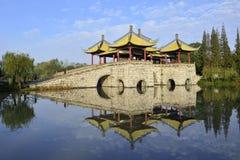 De blauwe hemel en de bezinning van Shouxi-meer Royalty-vrije Stock Afbeelding