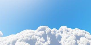 De blauwe hemel met witte 3D wolken geeft terug Stock Afbeelding