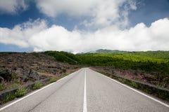 De blauwe hemel van de weg met wolken en groen landschap Stock Foto