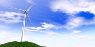 De Blauwe Hemel van de windturbine en Grasheuvel Stock Foto's