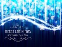 De blauwe het gloeien lichten van Kerstmis Stock Foto