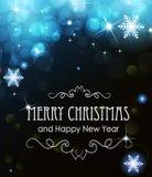 De blauwe het gloeien lichten van Kerstmis Stock Foto's