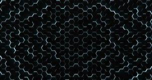 De blauwe Hexagonale Achtergrond van de Vloerlijn stock footage