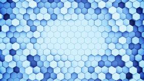 De blauwe hexagonale cellen vatten het 3D teruggeven samen royalty-vrije illustratie