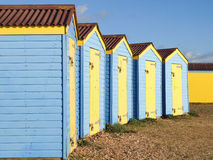 De blauwe Houten Hutten van het Strand Stock Afbeeldingen