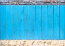 De blauwe houten textuur van de voorraadfoto met de achtergrond van de steentextuur stock afbeelding