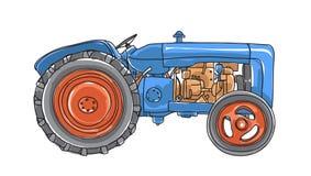 De blauwe illustratie van de Tractor Uitstekende hand getrokken vectorkunst Stock Afbeeldingen