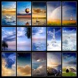 De blauwe Inzameling van de Zonsondergang Royalty-vrije Stock Afbeeldingen