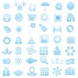 De blauwe inzameling van embleemelementen Stock Afbeelding