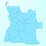 De blauwe kaart van Angola op gedegradeerde achtergrond Stock Afbeeldingen