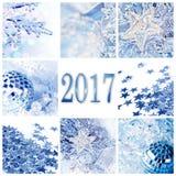 2017, de blauwe kaart van de de collagegroet van Kerstmisornamenten Stock Fotografie
