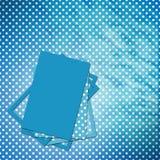 De blauwe kaart van de gelukwens met bladen voor ontwerp Royalty-vrije Stock Fotografie