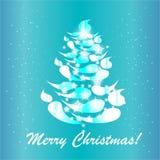 De blauwe kaart van de Kerstmisboom Stock Afbeeldingen