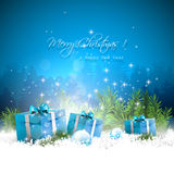 De blauwe kaart van de Kerstmisgroet Stock Afbeelding
