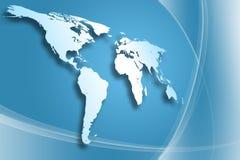 De blauwe Kaart van de Wereld Royalty-vrije Stock Foto's