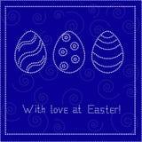 De blauwe kaart van Pasen met eieren Stock Afbeelding