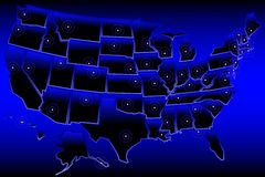 De blauwe Kaart van Verenigde Staten Royalty-vrije Stock Fotografie