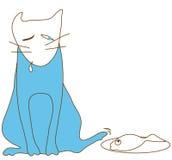 De blauwe kat steelt vissenvoorzijde Stock Fotografie