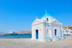 De blauwe kerk van Mykonos Stock Fotografie