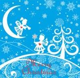 De blauwe kinderachtige kaart van de Kerstmisgroet met document die kleine engelen, sneeuwvlokken, boom en Kerstmisster snijden royalty-vrije illustratie